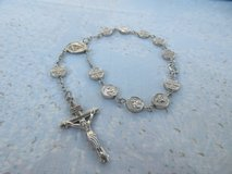 Vintage Rosary Bracelet Silver St. Anthony of Padua and Benedictine Cross Beads Adjustable Nice in Houston, Texas