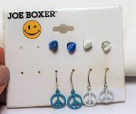 NWT Joe Boxer Blue White Peace Love Heart 4 pair Stud Earrings Drop Dangle Hook in Kingwood, Texas
