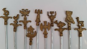 """CLEARANCE Kabob Skewers Set of 10 Decorative Metal Designs 16.75"""" each in Oswego, Illinois"""