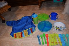 2 nuby diveder baby plates, 1 wow cup, 1 dwink box holder, 1 aetna bow., 1 smock bib, 9 spoons, ... in Lockport, Illinois