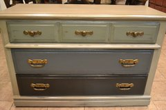 Shabby Rustic Industrial Painted Solid Wood Dresser Chest Console Neutral in Chicago, Illinois