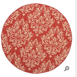 Red/cream area rug in Savannah, Georgia