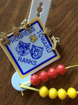 CUB SCOUTS Shirt Button HANGER Progress Toward Ranks with 8 Beads and 5 Pins in Oswego, Illinois