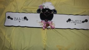 Hand Made- Bath towel rack with a lamb on it. in Fort Campbell, Kentucky