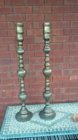 Vintage Pair Large Brass Candlestick Holders in Hinesville, Georgia