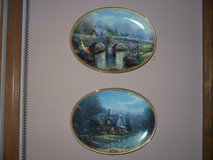 thomas kinkade/ 2 wall plates and large beautiful pedastal bowl/  all trimmed in gold in Morris, Illinois