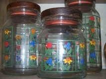 antique anchor hocking cannister set/  primary colors/ wood sealed lids in Morris, Illinois