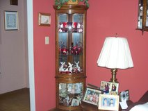Wood display cabinet/corner unit 6ft x 2 ft.  curved glass top/bottom doors in Morris, Illinois