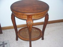 antique end table/ solid wood carved/  oval 2 tier 2 ft high/perfect wood in Morris, Illinois