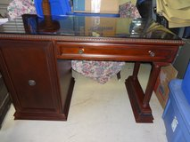 Desk- Bombay Mahogany with glass top in Kingwood, Texas