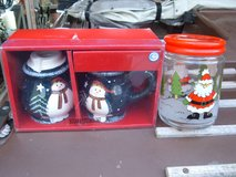 CHRISTMAS CREAMER & SUGAR SETS 2/SANTA CANDY JARS in Sacramento, California