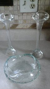 Two Glass Bud Vases/Tapered Candle Sticks& Matching Ash Tray in Chicago, Illinois
