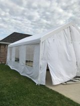 White entertainment tent. 10x20. Three windows on each side that open. Zipper front and back. Si... in Baytown, Texas