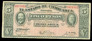 1915 5 Pesos El Estado De Chinuahua note in Chicago, Illinois