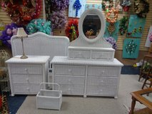 wicker bed room set / FULL EAD BOARD TALL NITE STAND DRESSERW/ VANITY MIRROR/MAGIZINE HOLDER in Wilmington, North Carolina