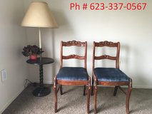 Moving out sale - cushion antique chair pair with carvings ($10 each) in Phoenix, Arizona