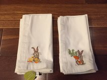 12 New Cloth Easter Napkins - White with Bunny Embroidery - World Market in Naperville, Illinois