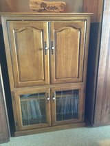 REDUCED PRICE ------Solid Oak TV Cabinet w/ beveled glass doors in Ramstein, Germany