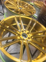 "22"" BMW gold and carbon fiber custom wheels with tires 90% thread in Hemet, California"