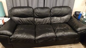 Black Leather Couch in Bartlett, Illinois