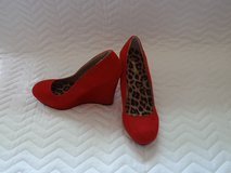 """Qupid"" red suede wedges in Tampa, Florida"