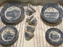 Broadhurst Blue and White Staffordshire Ironstone, (ENGLAND)Dinner set 30 Pieces in Bolling AFB, DC