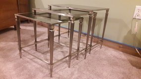 Set of 3 Vintage Brass and Smoked Glass French Nesting Tables in Waukegan, Illinois