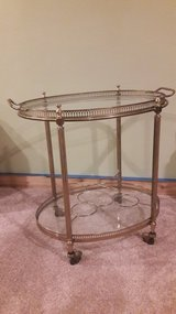 Vintage French Brass and Glass Bar Cart in Waukegan, Illinois