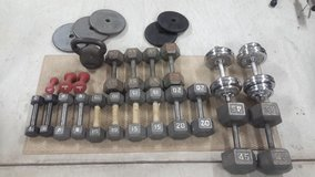 Dumbbells, Plates, a Kettle Ball 400 lbs in Okinawa, Japan
