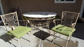 Vintage Wrought Iron 5pc Patio Set w/ Marble Top in Fort Irwin, California