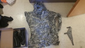 Acu rain suit,  asu shoes, and throat protector. in Fort Irwin, California