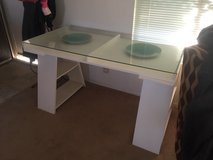 white glass top desk by ikea in 29 Palms, California
