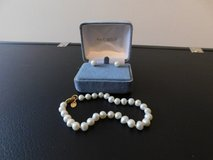 14KT Gold Freshwater Pearl Earrings and Braclet in Okinawa, Japan