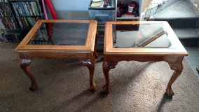 2 Matching End Tables with Beveled Glass tops in Camp Lejeune, North Carolina
