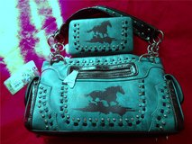 Montana West Horse Matching Purse & Wallet Set Turquoise Teal Rhinestone in Alamogordo, New Mexico