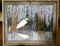 """Louisiana Crane "" 16"" x 20"" Acrylic /Frame original and signed in Elgin, Illinois"