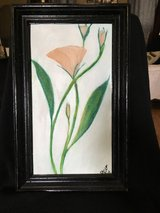 "Peach Cosmo 16"" x 20""  Chalk on Canvas  / Framed orignial Signed in Elgin, Illinois"