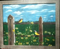 """Country Birds "" 16 x 20"" Acrylic on Canvas / Framed Original  Signed in Elgin, Illinois"