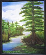 """Louisiana Canal"" 16"" x 20"" Acrylic on Canvas / Framed Original Signed in Elgin, Illinois"