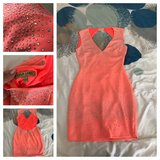 Coral rhinestones backless dress in Lake Elsinore, California