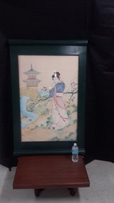 "Vintage Japanese Water Color (49"" x 31"") in Okinawa, Japan"