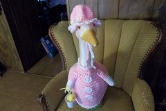 Easter Girl Crochet Geese Outfit with Chick in Bucket Outdoor Decor in Belleville, Illinois