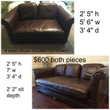 2 leather sofas in Fort Rucker, Alabama