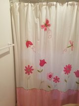 Fabric shower curtain ,pink and white in Plainfield, Illinois