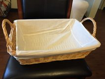 Large wicker basket with washable liner in Okinawa, Japan