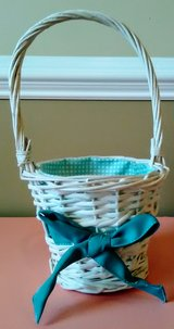 White Easter Basket with Teal Ribbon & Cloth Liner in Wilmington, North Carolina