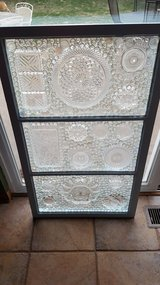 Vintage wood window upcycled into stainglass in Morris, Illinois