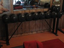 Steel Weight Set and Rack - 55lb, 60lb, 65lb, 70lb and 75lb Pairs in Naperville, Illinois