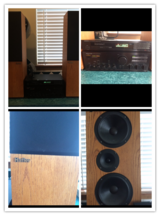 """Onkyo"" tuner and amplifier with ""Hafler"" speakers in Joliet, Illinois"