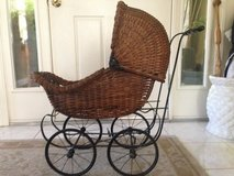 Antique wicker baby buggy in Vacaville, California